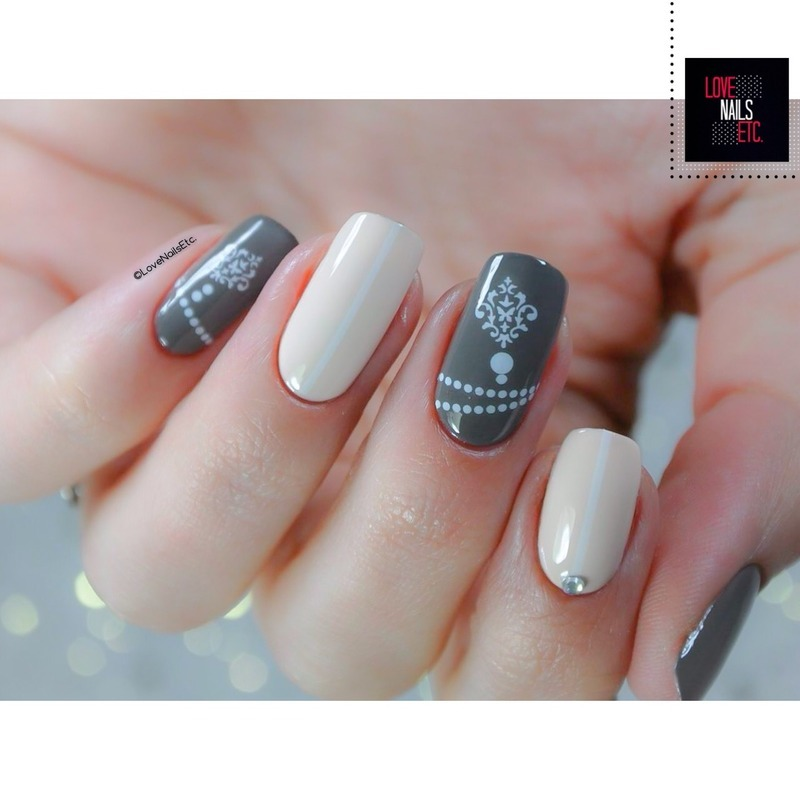 Vintage Damask nail art by Love Nails Etc