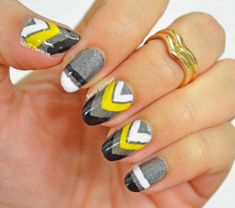 Holo Chevron Nails nail art by NailsContext