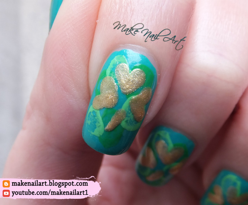 St. Patrick\'s Day Gold Shamrock Nail Art Design nail art by Make ...