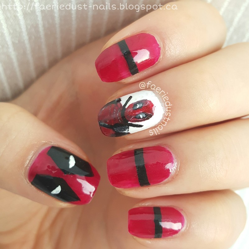 Deadpool Nails nail art by Shirley X.