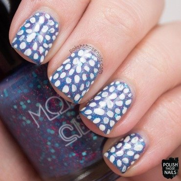 Dotty Blues  nail art by Marisa  Cavanaugh