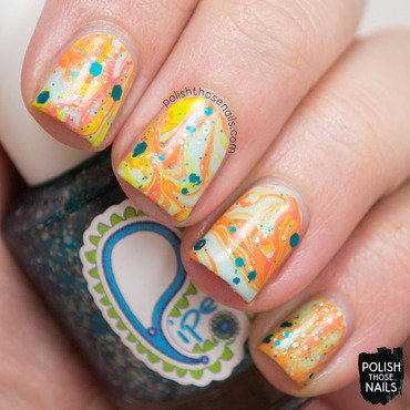 Bright retro watermarble glitter nail art 4 thumb370f