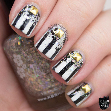 White black striped glitter studded nail art 4 thumb370f