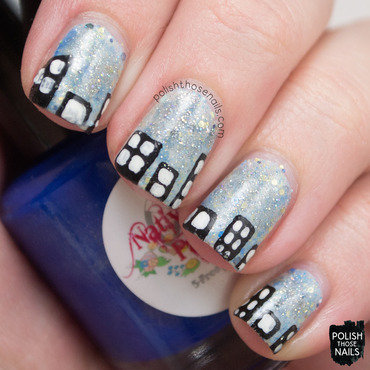 Light blue sparkly city scape nail art 4 thumb370f