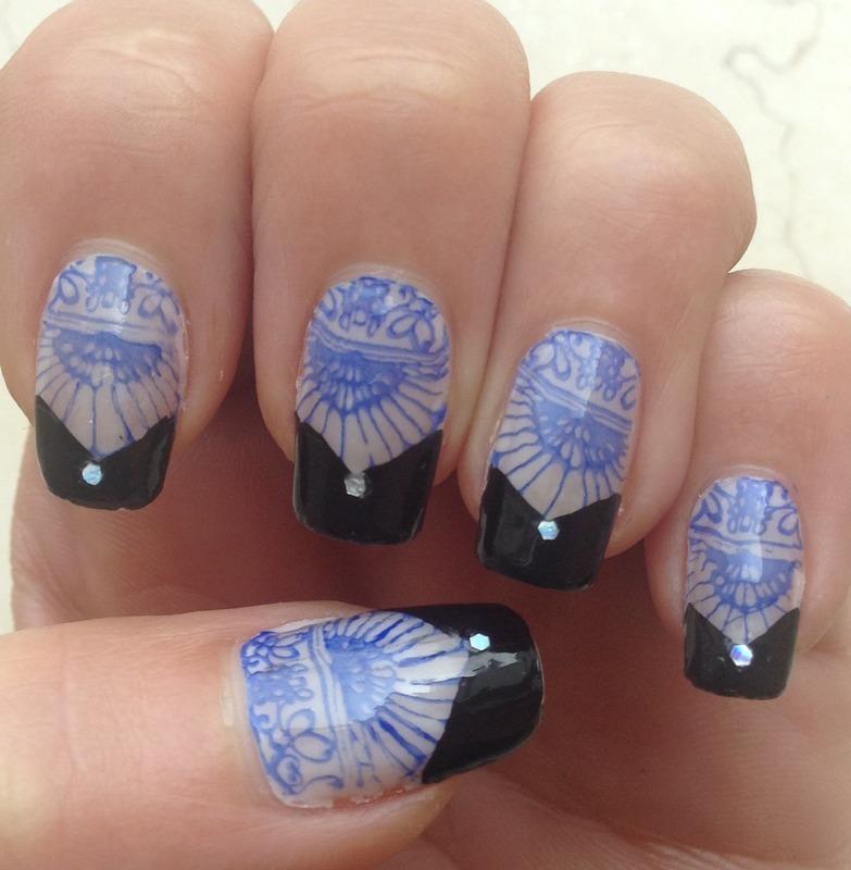 Blue Lace Black Tips nail art by Idreaminpolish