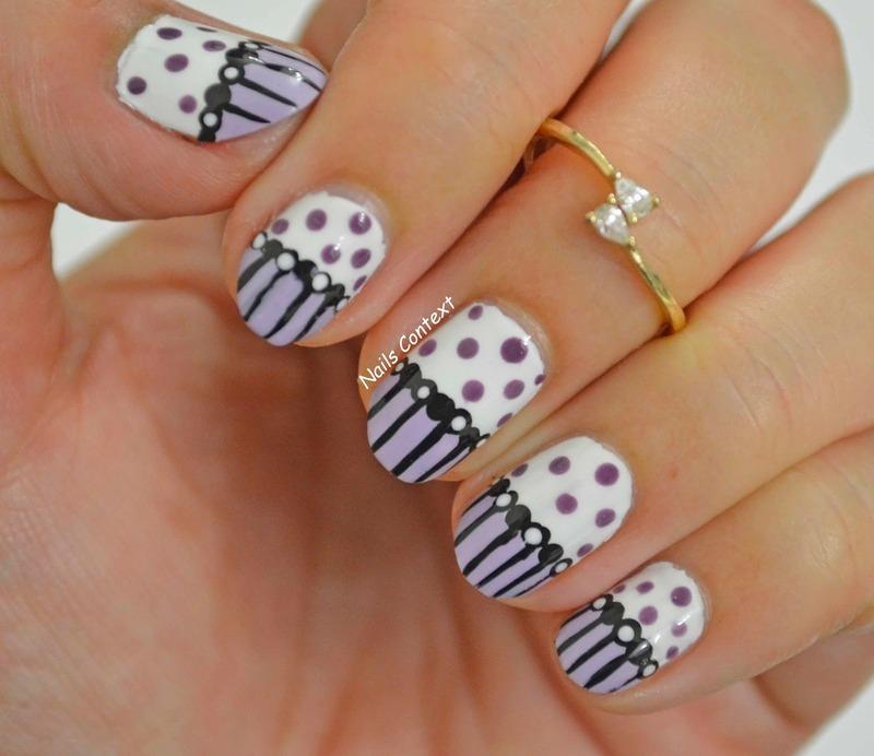 Purple and Polka nail art by NailsContext