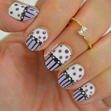 Purple and Polka nail art by NailsContext