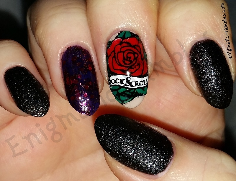 Rock n' Roll Rose nail art by Enigmatic Rambles