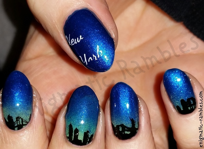 New York Skyline nail art by Enigmatic Rambles