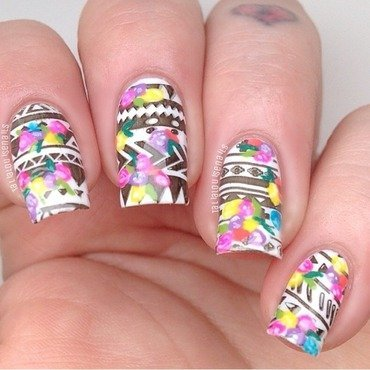 Messy Aztec  nail art by Talia  Louise