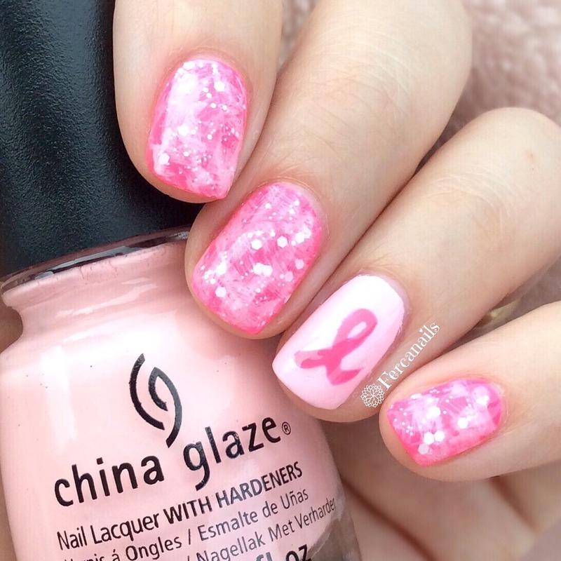 Pink Ribbon nail art by Fercanails
