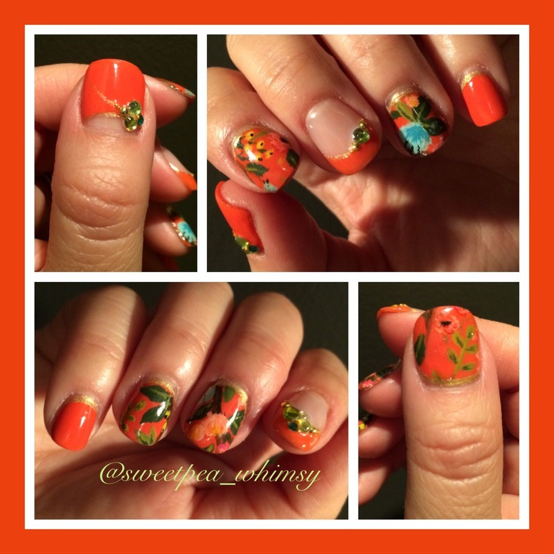 Tangerine & Floral - Take Two nail art by SweetPea_Whimsy