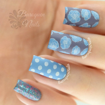 Polka Dots And Roses nail art by BaroquenNails
