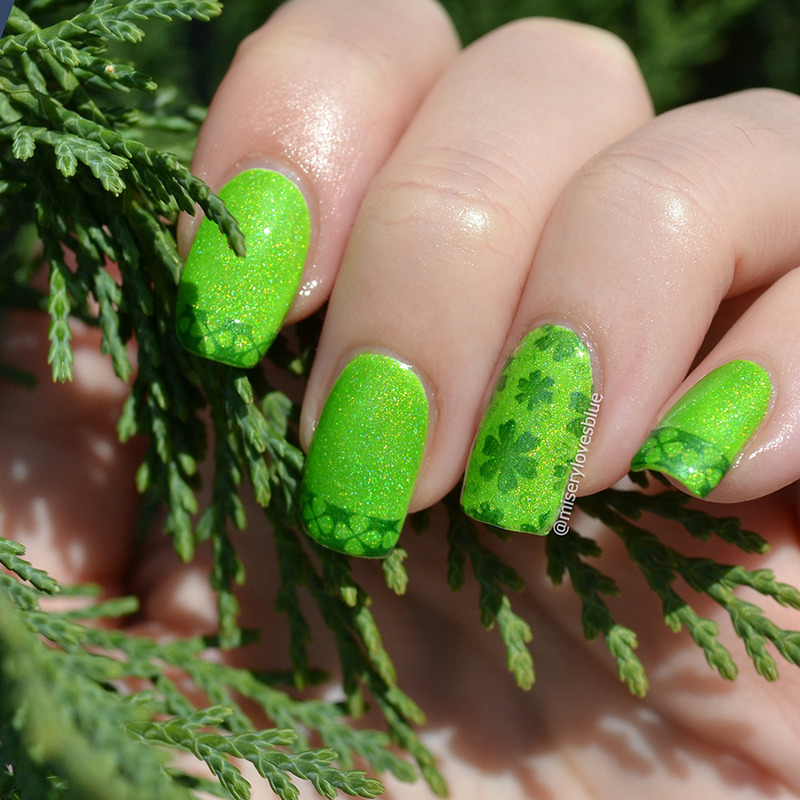 St. Patrick goes neon nail art by MiseryLovesBlue