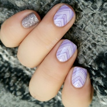 Shades-on-lilac nail art by Valentina