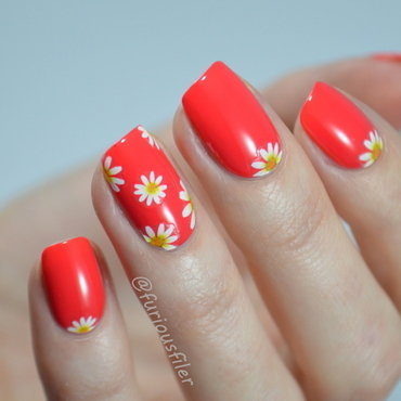 Daisies nail art by Furious Filer