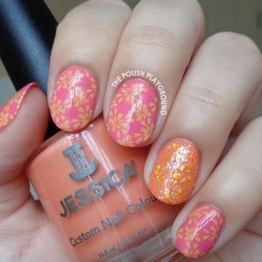 Spring Like Floral Pattern Stamping  nail art by Lisa N