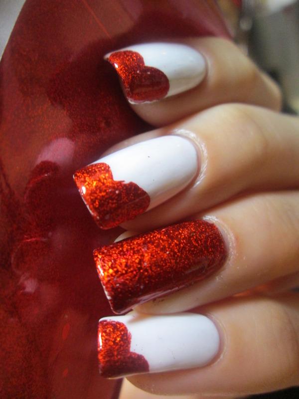 red foil hearts nail art by NailArt_T