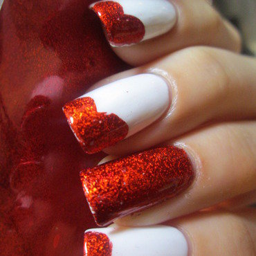 red foil hearts nail art by NailArt_T