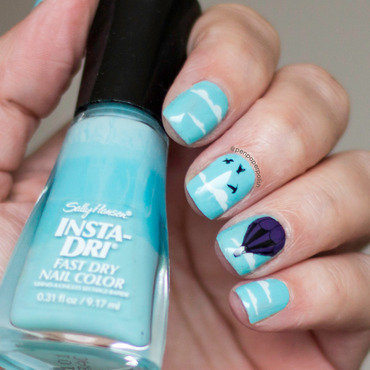 Blue Skies nail art by Misty