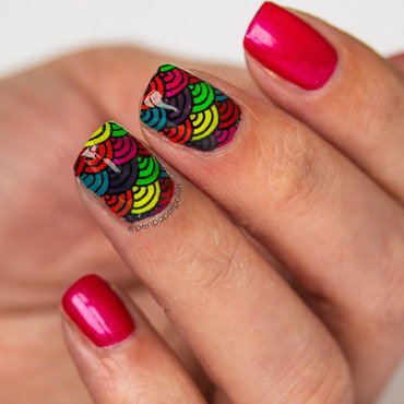 Rainbow Fans nail art by Misty
