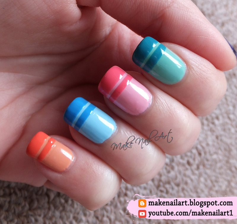 Spring / Easter Pastel French Manicure nail art by Make Nail Art