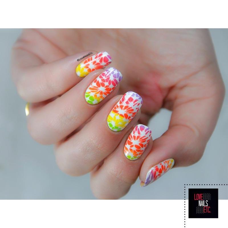 Rainbow  nail art by Love Nails Etc