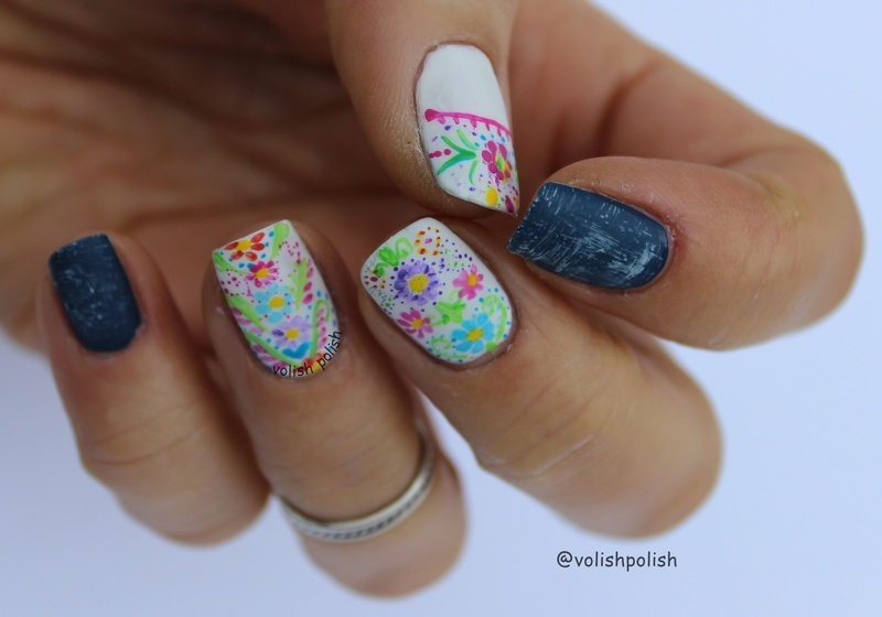 Jeans and Flowers nail art by Volish Polish