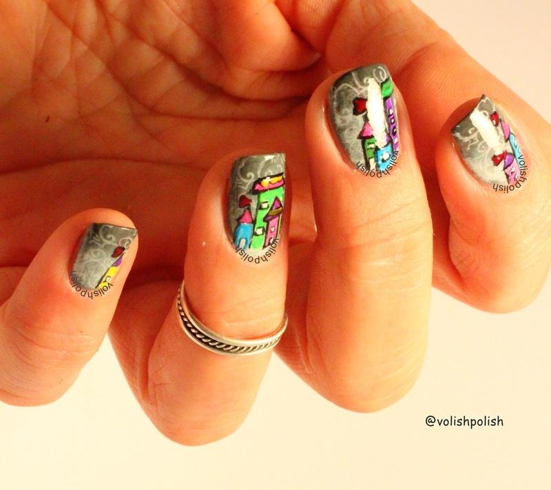 Nail art for rainy day / Nokti za kišni dan nail art by Volish Polish