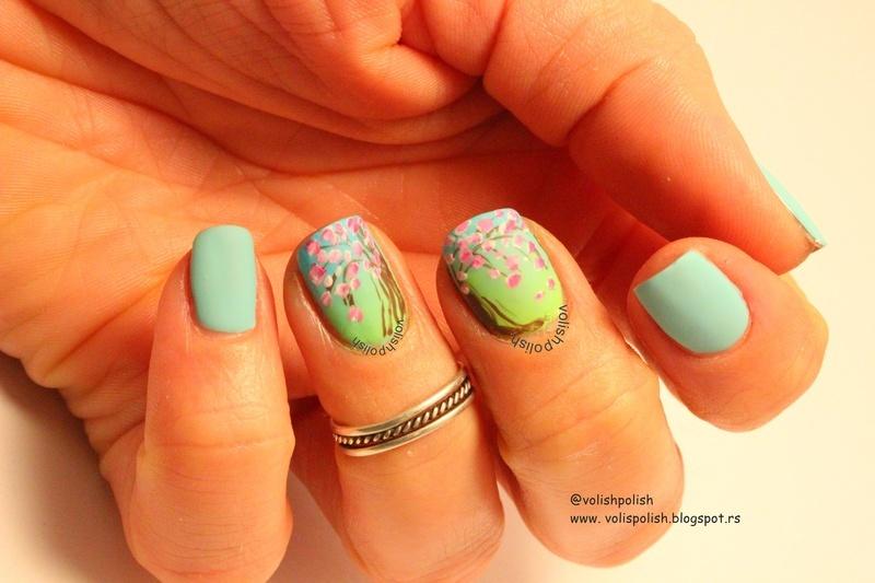 Cherry blossom nail art spring design nail art by Volish Polish