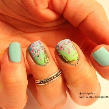 Cherry blossom nail art spring design nail art by Volish Polish