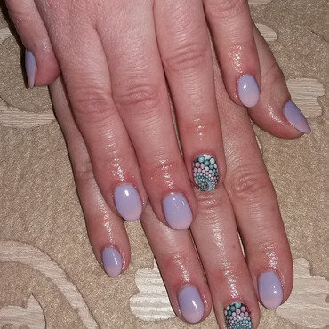 Spring ombre and water sticker nail art by Magda