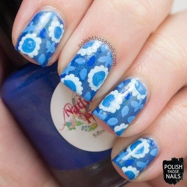 Blue shimmer favorite color monochrome floral nail art 4 thumb370f