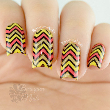 Colorful Chevrons nail art by BaroquenNails