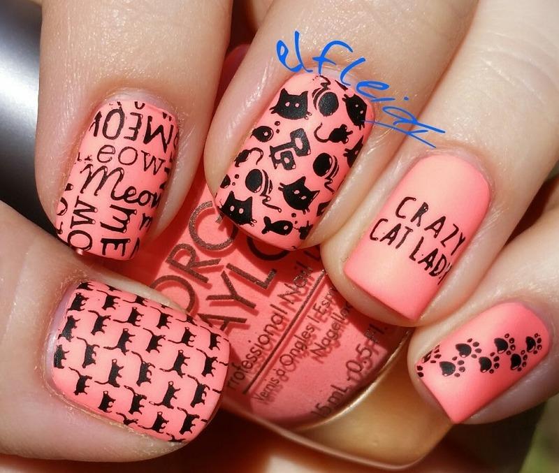 Cats! nail art by Jenette Maitland-Tomblin