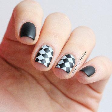 Black and white stamping nail art by NailThatDesign