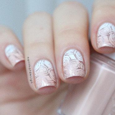 Rose Gold Roses nail art by NailThatDesign