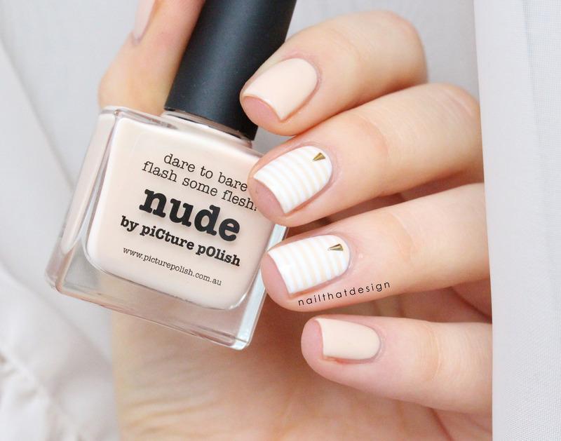 Nude Stripes nail art by NailThatDesign