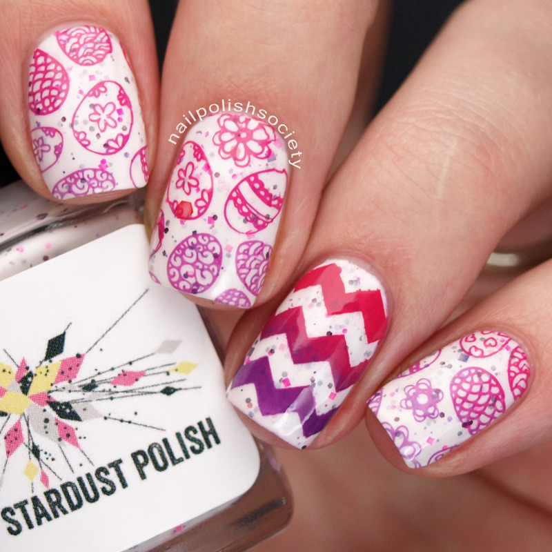 Easter Eggs and Chevrons nail art by Emiline Harris