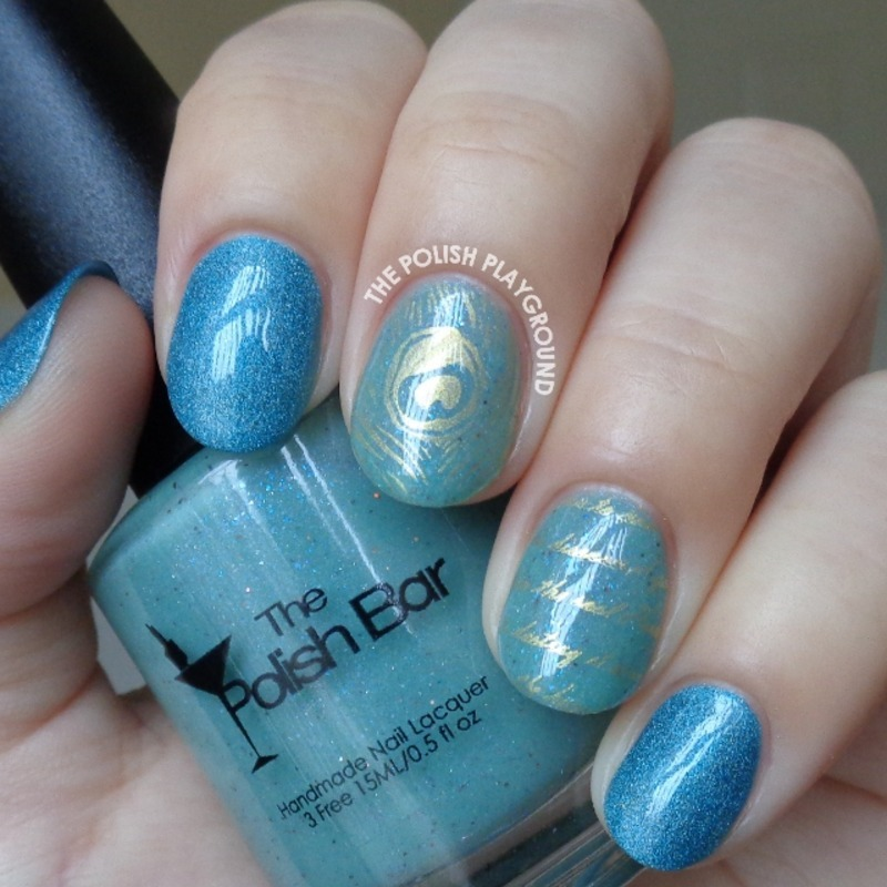 Subtle Gold Feather and Words Stamping nail art by Lisa N