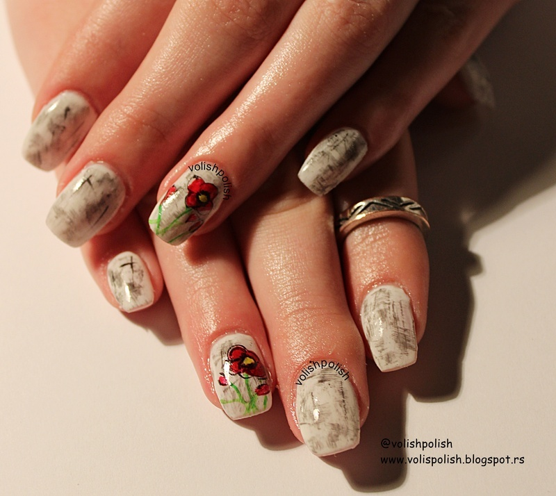 Handpainted Poppy flower nail art on the acrylic nails  nail art by Volish Polish
