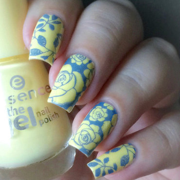 Yellow Roses nail art by Natasha