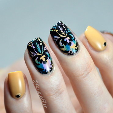Damask Lace nail art by Furious Filer