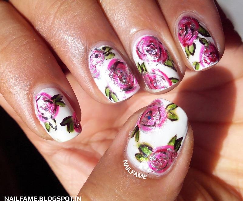Vintage Roses nail art by Nailfame
