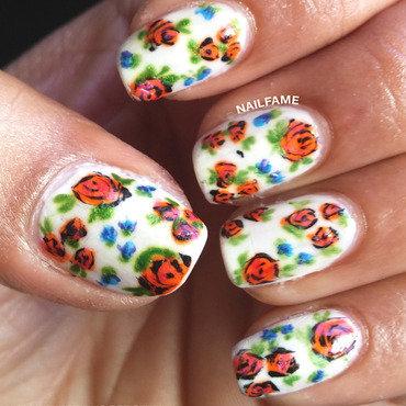 Vintage Flowers nail art by Nailfame