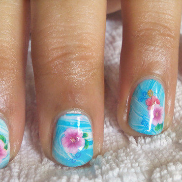 Water Marble and Flower Decal nail art by Nailfame