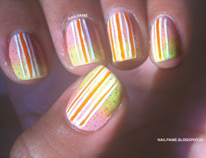 GRADIENT, GLITTER AND STRIPES nail art by Nailfame