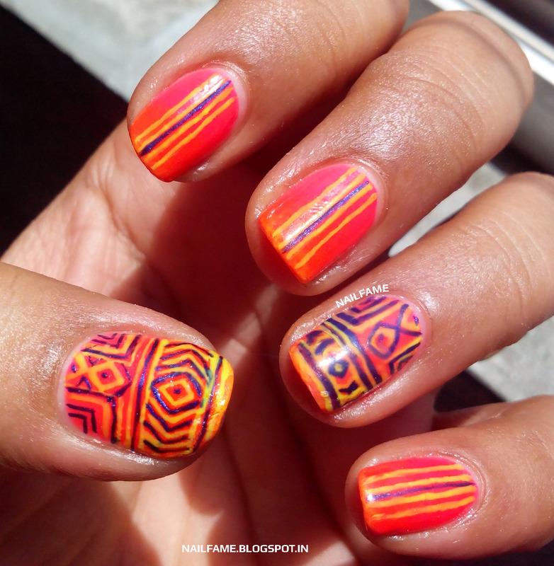 NEON TRIBAL NAILART nail art by Nailfame