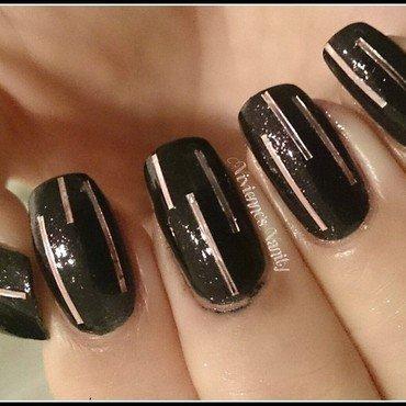 Pink lines on black nail art by Vivienne's Vanity