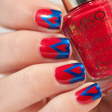 Red and blue funky french nail art by Zara TracesOfPolish